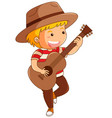 boy in brown hat playing guitar vector image vector image