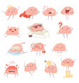 brain cartoon happy cartoon mascot in action vector image vector image