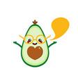 cartoon avocado character with speech bubble vector image vector image