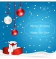 Christmas card with hanging balls and gift boxes vector image vector image