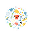 cleaning elements circular background vector image vector image
