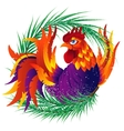 Colorful cartoon rooster with fir branch symbol vector image vector image