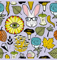 colorful endless pattern with rabbit in glasses vector image vector image