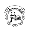 contour seal key ring car with label vector image vector image