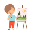 cute boy painting picture on easel kids hobor vector image vector image