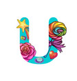 cute magic letter u vector image