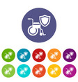 disability protection icons set color vector image vector image