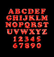 english alphabet from red balloons on a black vector image vector image