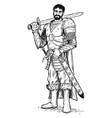 fantasy knight or warrior with armor and sword vector image