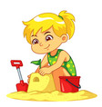 girl making sand castle vector image vector image