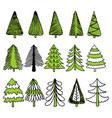hand drawn christmas trees vector image vector image
