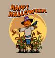 headed pumpkin scarecrow vector image vector image