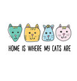 home is where my cats are quote inspiration vector image vector image