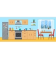 Kitchen with furniture set vector image vector image