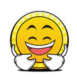 laughing face coin cartoon character vector image vector image