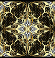 luxury gold 3d damask seamless pattern vector image vector image