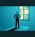 man figure looking through window vector image
