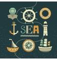 marine set icons vector image vector image