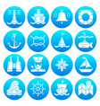 marine symbols nautical white silhouette icon set vector image vector image