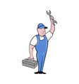 mechanic with spanner wrench standing toolbox vector image vector image