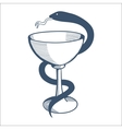 Medical health service emblem with goblet and vector image vector image