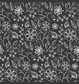 monochrome pattern with outline flowers and herbs vector image vector image