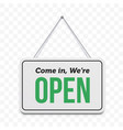 open door sign we are open hanging signboard vector image