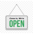 open door sign we are open hanging signboard vector image vector image
