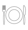 plate with fork an knife vector image vector image