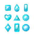 realistic detailed 3d blue jewels set vector image