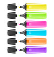 realistic highlighter pen icon set isolated vector image vector image