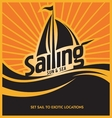Sailing poster design template vector image vector image