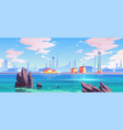 sea port industrial shipyard with cargo containers vector image vector image