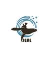 sea seal emblem vector image vector image
