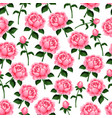 seamless pattern of spring roses flowers vector image