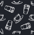 seamless pattern with hand drawn chalk coffee cups vector image