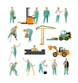 set of construction workers isolated on vector image