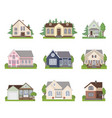 set of cottage house icons in flat style vector image