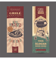 Set with vintage retro banners with grill vector image vector image