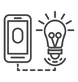smart bulb control icon outline style vector image vector image