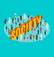 society isometric background with people of vector image vector image