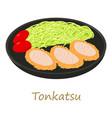 tonkatsu icon cartoon style vector image