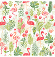 Tropical flower and flamingo seamless pattern