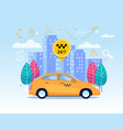 yellow city cab transfer service flat app banner vector image