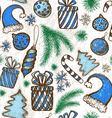 Christmas seamless background - sketched elements vector image