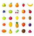 fresh fruits colorful polygonal icons collection vector image