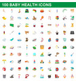100 baby health icons set cartoon style vector image vector image