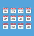 12 month calendar sign set vector image vector image