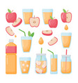 apple juice flat icons set vector image vector image