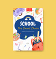 back to school and education concept with poster vector image vector image